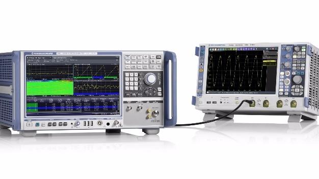 Analyse breitbandiger FMCW-Chirpsignale:  Signal- und Spektrumanalysator R&S FSW85 mit Hardwareoption R&S FSW-B5000 und Oszilloskop R&S RTO2064