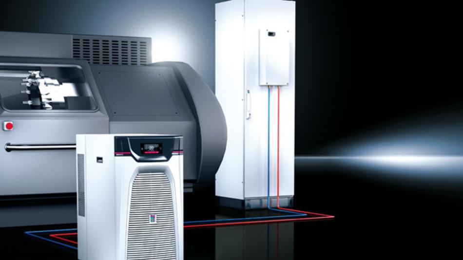 """Kühlung einer Werkzeugbearbeitungsmaschine in Kombination mit Schaltschrankkühlung mittels """"Blue-e+""""-Chiller"""