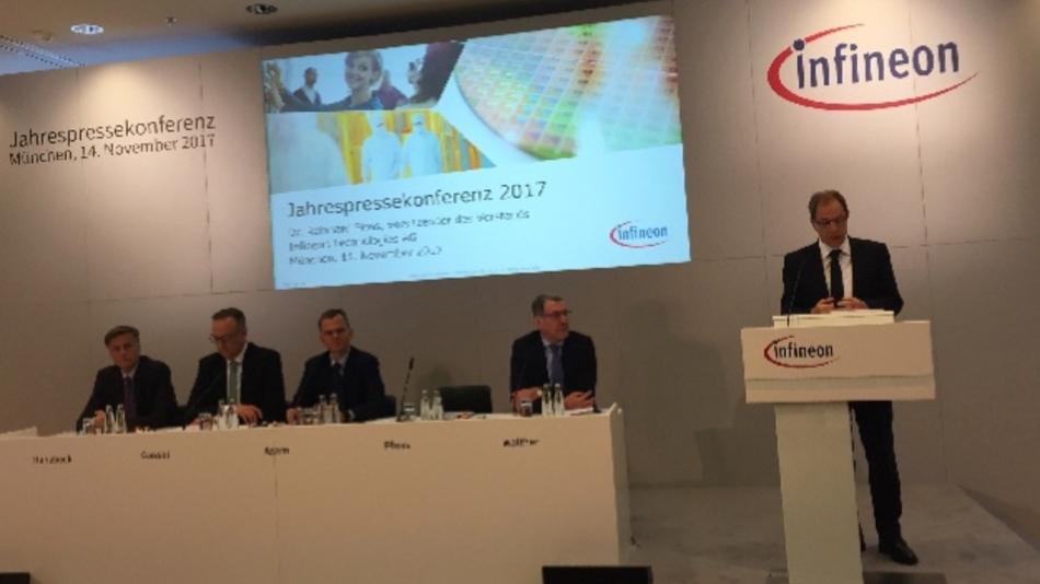 Infineons CEO Dr. Reinhard Ploss erläutert das Ergebnis des Geschäftsjahres 2017.