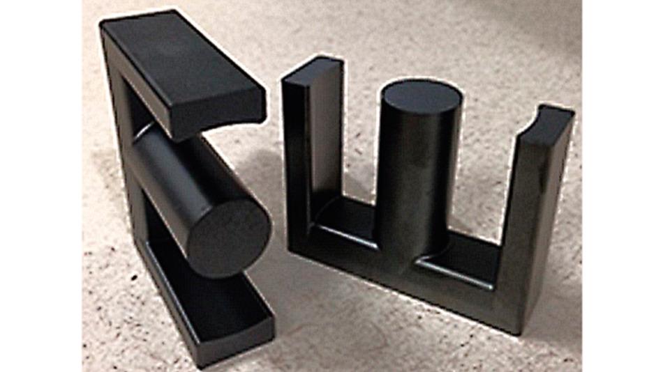 Bild. Beispiel für einen E-förmigen Ferritkern von Magnetics mit 70 × 54 mm² Kantenmaß.