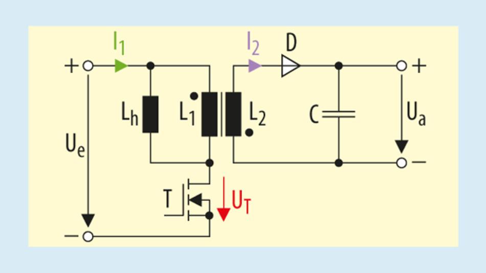 Bild 1. Beispiel für eine typische Sperrwandlerschaltung.