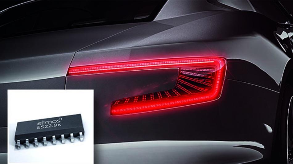 Eine konstante Lichtintensität bietet die E522.9x-Linearregler-Familie für bis zu 3*55 mA von Elmos.