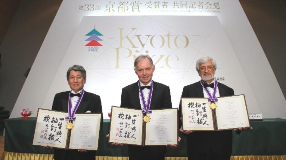 Kyoto-Preisträger 2017: (v.l.n.r.) Dr. Takashi Mimura aus Japan (Kategorie Hochtechnologie), Dr. Graham Farquar aus Australien (Grundlagenforschung) und der Amerikaner Dr. Richard Taruskin (Kunst und Philosophie).
