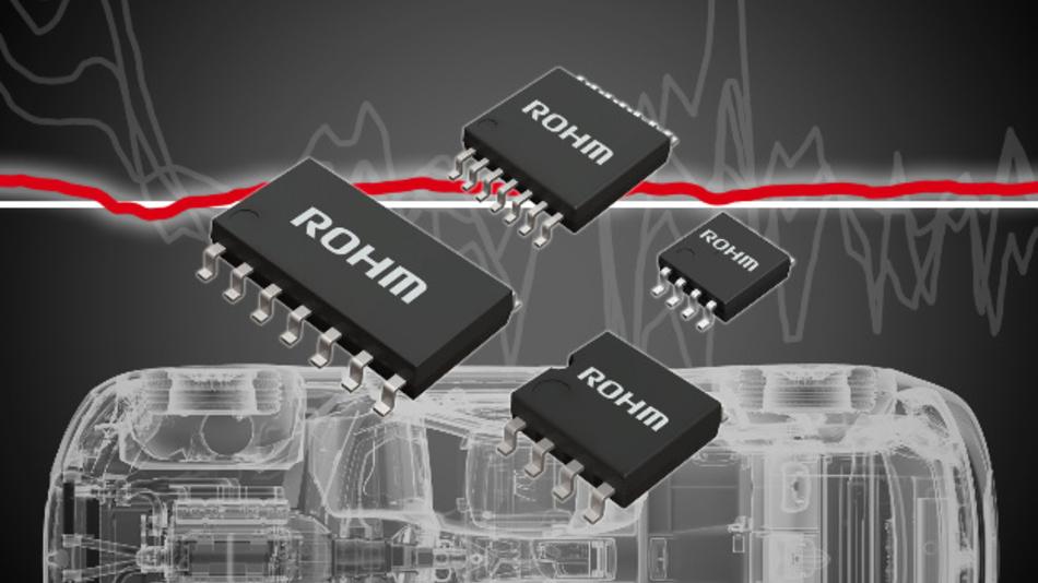 Die nach Rohms Angaben weltweit ersten Operationsverstärker, die Rauscheffekte in Automobil-Sensorapplikationen quasi eliminieren.