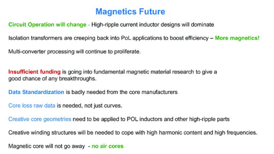 Dies ist die Zusammenfassung, wie Dr. Ridley die Zukunft der induktive Bauelemente sieht.