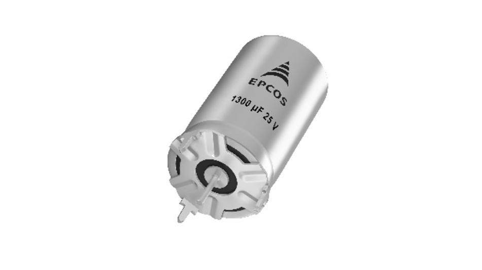 Hybrid-Polymer-Alu-Elko in axialem Design mit einer Kapazität von 1300 μF und einem ESR von 3 mΩ.