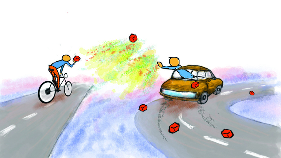 Illustration des Kopplungsprozesses zwischen einem geraden Wellenleiter und einem Lichtspeicher. Der Fahrradfahrer versucht, dem schnell fahrenden Auto Lichtpakete zu übergeben. Ohne Chaos ist die Kopplung ineffizient.