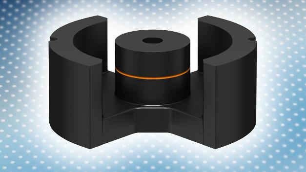 PM-Kern aus dem neuen Ferritmaterial PC200 von TDK mit drei Luftspalten. Der zweite und dritte Spalt wird durch das symmetrische Gegenstück gebildet.