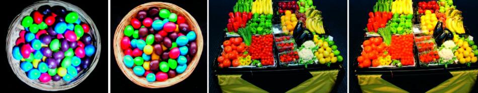 Bild 2. Praktischer Vergleich der Wahrnehmung gleicher Produkte unter verschiedenen Farbwiedergaben. Vor allem die Rottöne wirken bei den niedrigen CRIs blass und wenig ansprechend.