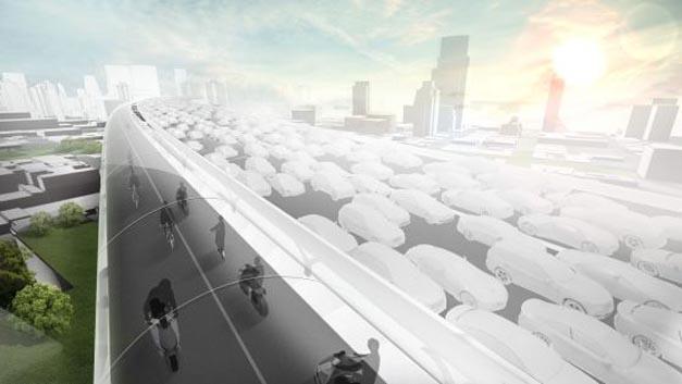 BMW hat für Megacities das Hochstraßenkonzept BMW Vision E³ Way entwickelt.