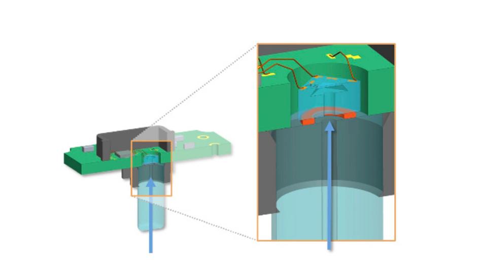 Bei dem Druck-Sensor für Kraftstoffanlagen werden glasbasierte Materialien mit angepasstem Ausdehnungskoeffizienten eingesetzt.