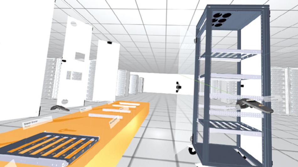 Zusammenbau eines lektronikschranks im virtuellen Raum per VR-Brille