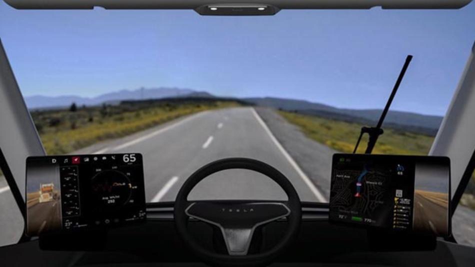 Blick aus dem Cockpit des Tesla Semi.