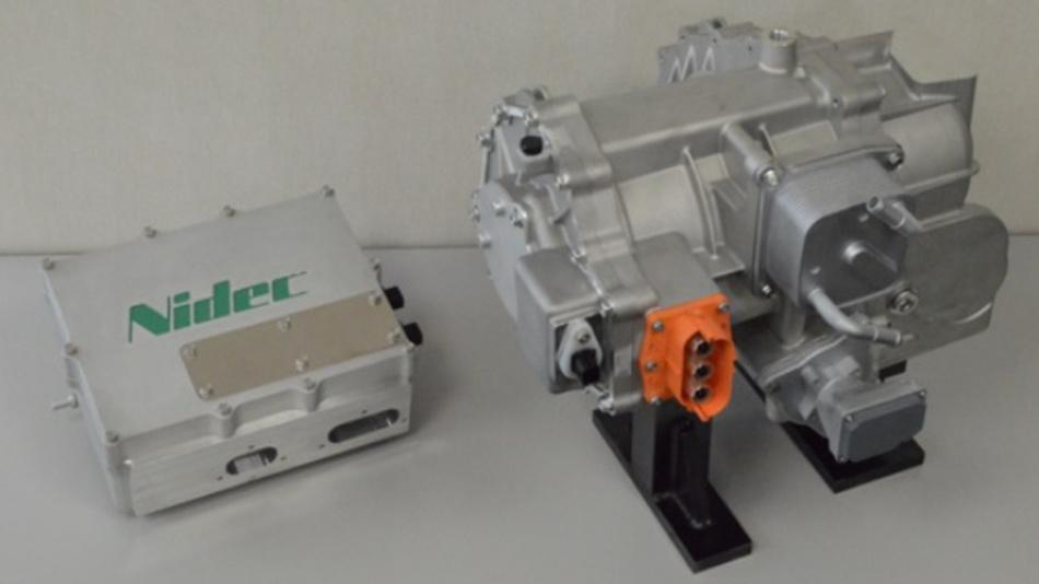 Nidec zeigte im September 2017 ein Designkonzept eines Traktionsmotorsystems, das E-Maschine, Inverter und Getriebe beinhaltet.