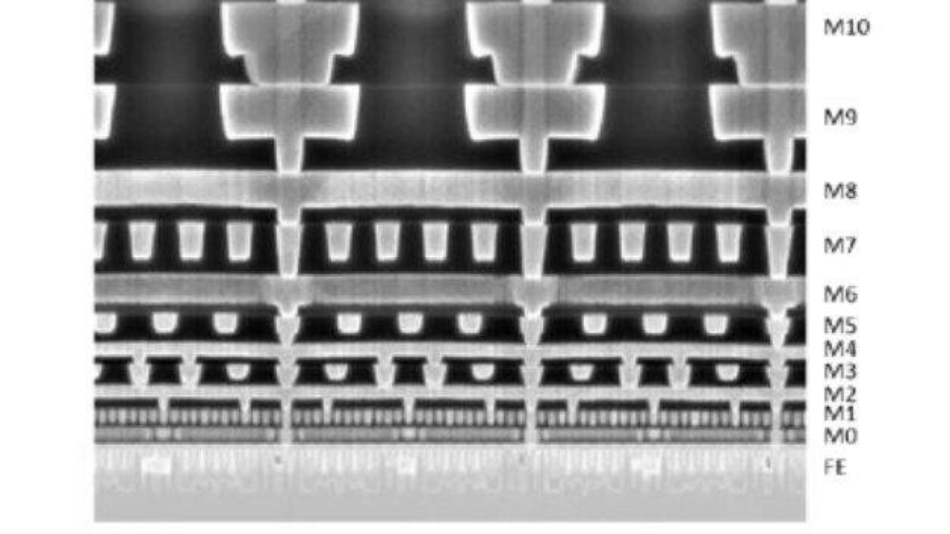 Schnitt durch einen Chip in Intels 10-nm-FinFET-Prozess.