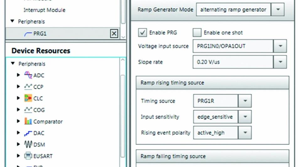 Bild 2: MPLAB Code-Konfigurator – Hardware-Einstellungen des PRG-Moduls.