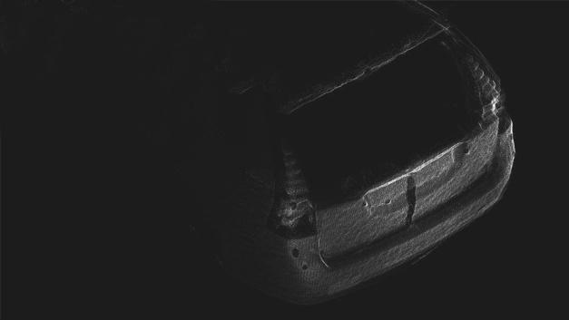 3D-Punktewolke eines Autohecks, kreiert durch die Verbindung von drei unabhängigen Ansichten