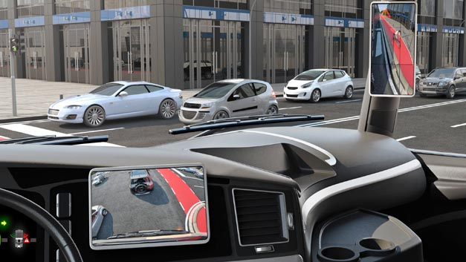 Im Display an der A-Säule kombiniert Continental die verschiedenen Kameraaufnahmen zu einem Bild. So kann der Fahrer stets die Fahrzeugumgebung im Ganzen einsehen. Das zentrale Display zeigt den Bereich des Frontspiegels.
