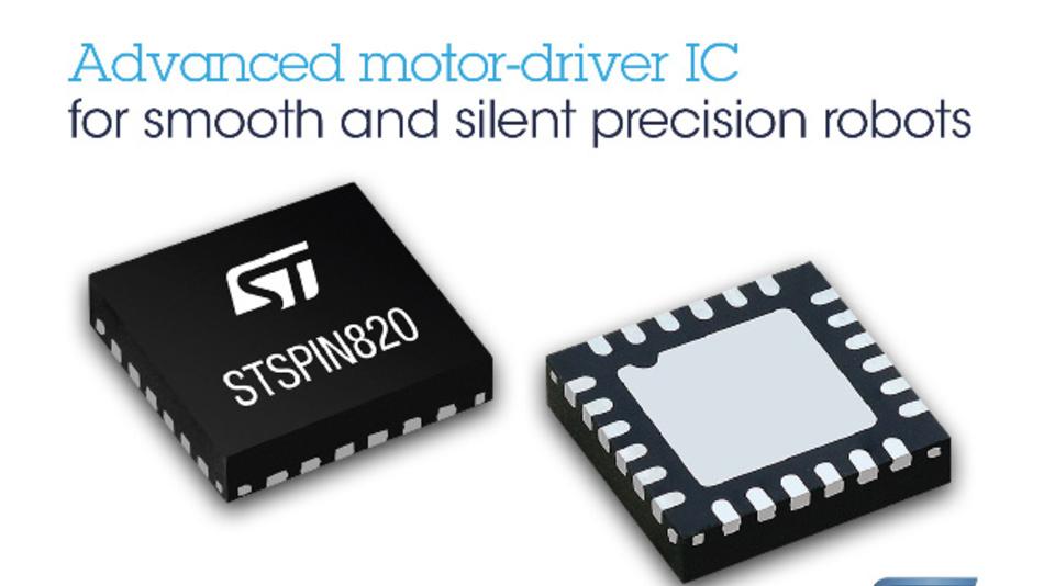 Im 4 x 4 mm großen QFN-Gehäuse steckt der Motion-Control-Chip STSPIN820 von STMicroelectronics.