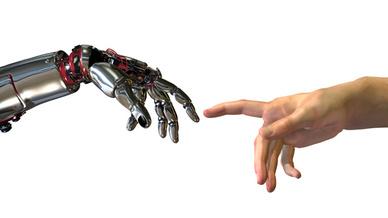 In zukünftigen Produktionshallen werden Roboter und Menschen eng zusammenarbeiten.