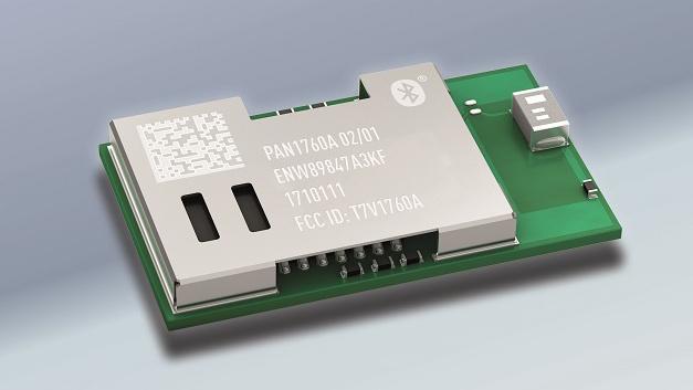Funkmodul PAN1760A von Panasonic für Bluetooth Low Energy (BLE) mit BLE-Mikrocontroller von Toshiba.