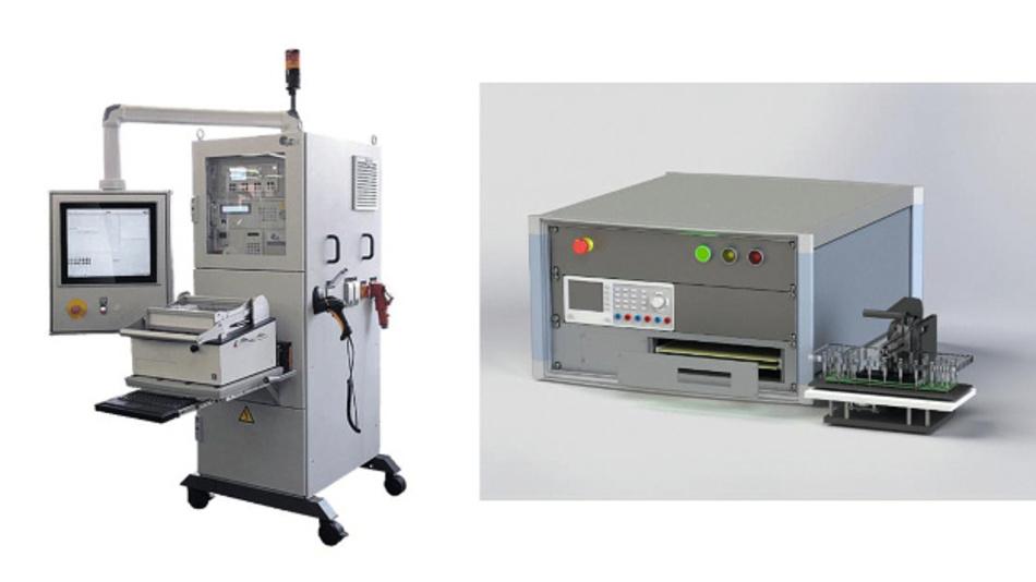 Bild 1: Funktionstester. Der exDimo.UFT (links) wird in der Serienfertigung für komplexe Prüfanwendungen bei hohen Stückzahlen eingesetzt. Der exDimo.KFT (rechts) adressiert vor allem geringe Stückzahlen und weniger komplexe Szenarien.