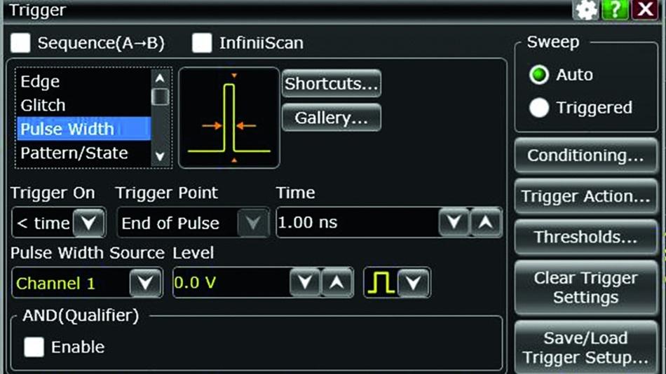 Bild 3: Der Trigger-Dialog arbeitet mit Symbolen, die unmittelbar zeigen, was mit einer bestimmten Triggerfunktion gemeint ist. (Keysight)