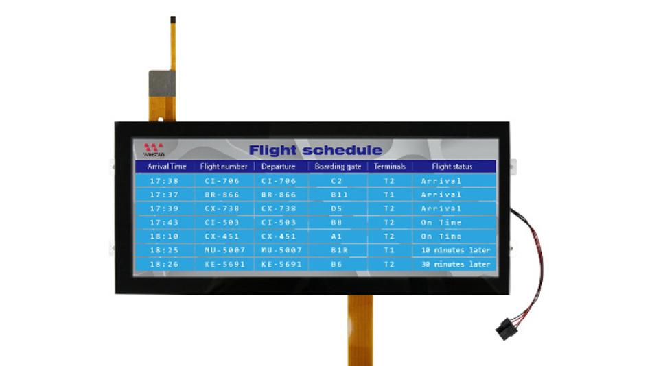 Highlights des 12-Zoll-TFT-Displays sind das Kontrastverhältnis von 1000:1, die Auflösung von 1920 x 720 Pixel und die Leuchtdichte von 800 cd/m2.