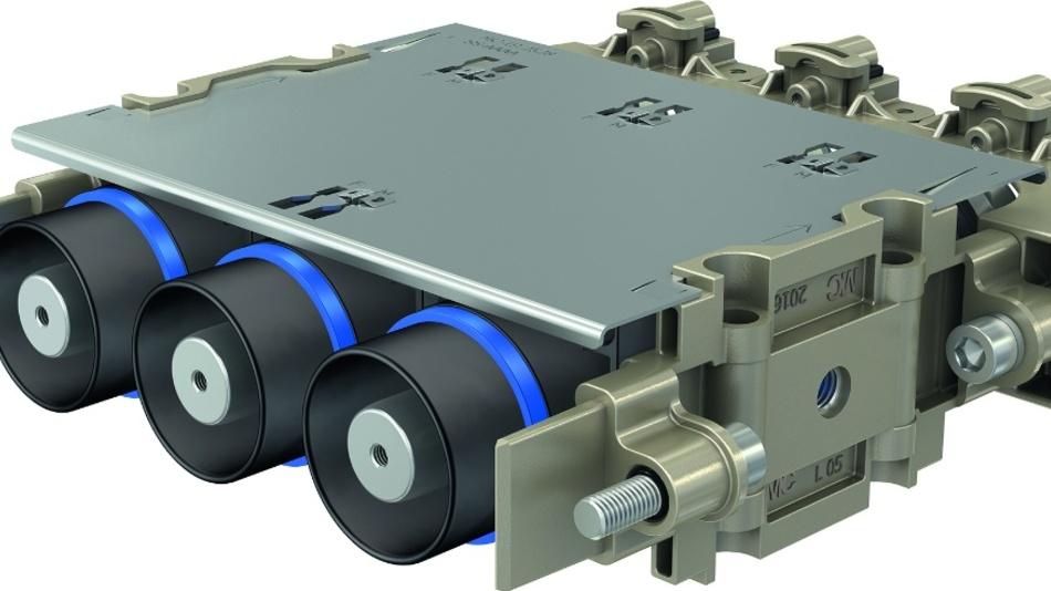 Bild 1: Eine Konfiguration aus drei Kontakten und aufgeklipstem Schutzblech.