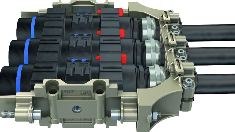 Bild 2: Die Dynamic-Cable-Option (DCO, im Bild rechts) ist eine kompakte Zugentlastung für das MPC-Steckverbindersystem. Aufwändige Eigenkonstruktionen sind nicht mehr erforderlich.