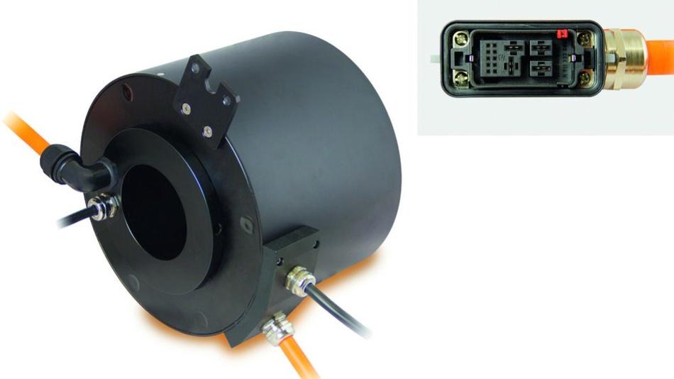 Bild 1: Der SVTS-C-Drehübertrager von Servotecnica verfügt über einen einzelnen Luftdurchgang von 6mm bzw. 10mm Durchmesser.