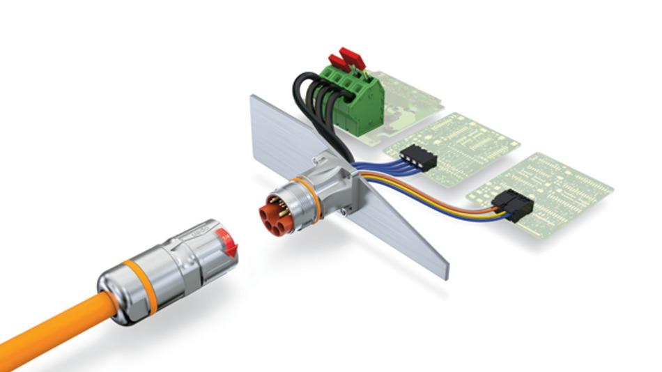 Bild 2. Hybrid-Steckverbinder: Signale, Daten und Leistung werden gleichzeitig über eine einzige Leitung mit einer einzigen Schnittstelle übertragen.