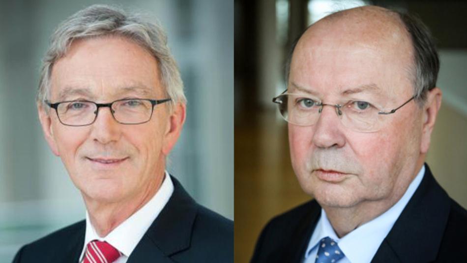 Wolfgang Mayrhuber (links) gibt den Aufsichtsratsvorsitz der Infineon Technologies AG ab an Dr. Eckart Sünner (rechts).