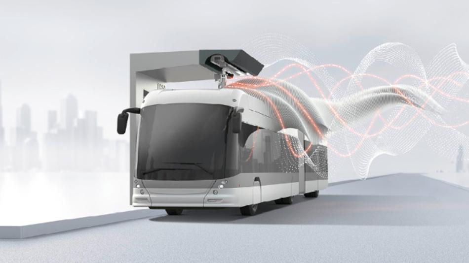 Der TOSA-Bus wird in Sekundenschnelle an einer Haltestelle audgeladen.