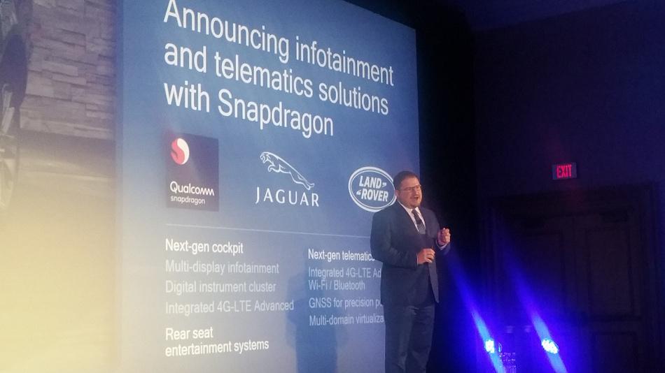 Qualcomm Chef Christiano Amon kündigte auf der CES 2018 Partnerschaften mit JLR, BYD und Honda an.