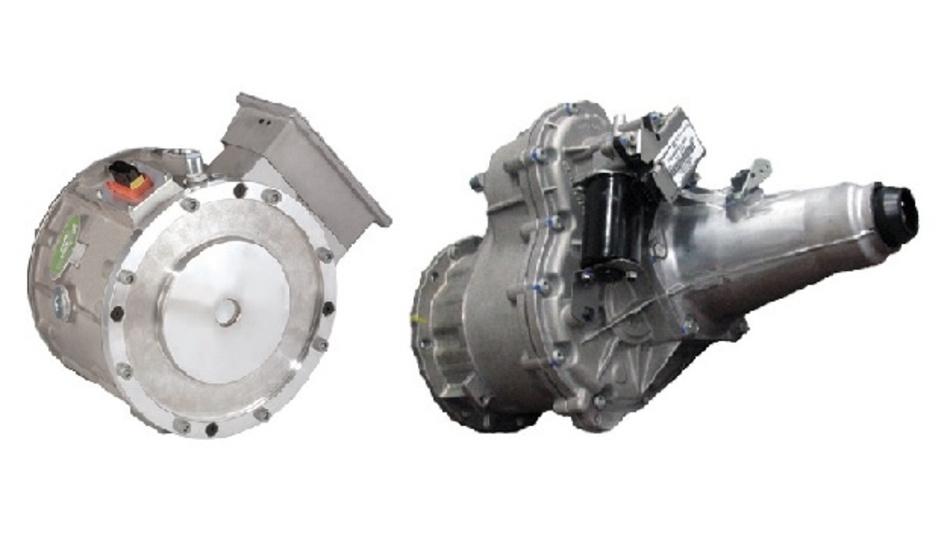 Der HVH250-Elektromotor und das eGearDrive-Getriebe von BorgWarner treiben den rein elektrisch angetriebenen Leicht-LKW Fuso eCanter an.