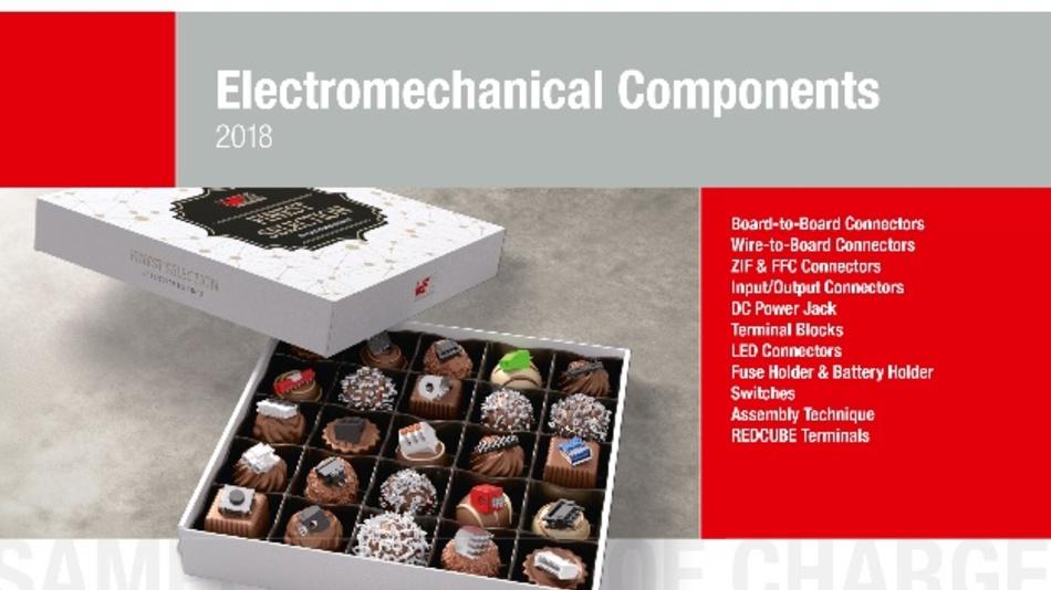 Cover des neuen Katalogs elektromechanischer Bauteile.
