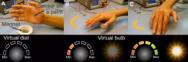 Abhängig von den Feldern eines Permanentmagneten werden die Bewegung und die Position der Hand, auf der der Sensor wie eine zweite Haut aufgebracht ist, auf eine virtuelle Skala übertragen, was wiederum die Lichtintensität kontrolliert.
