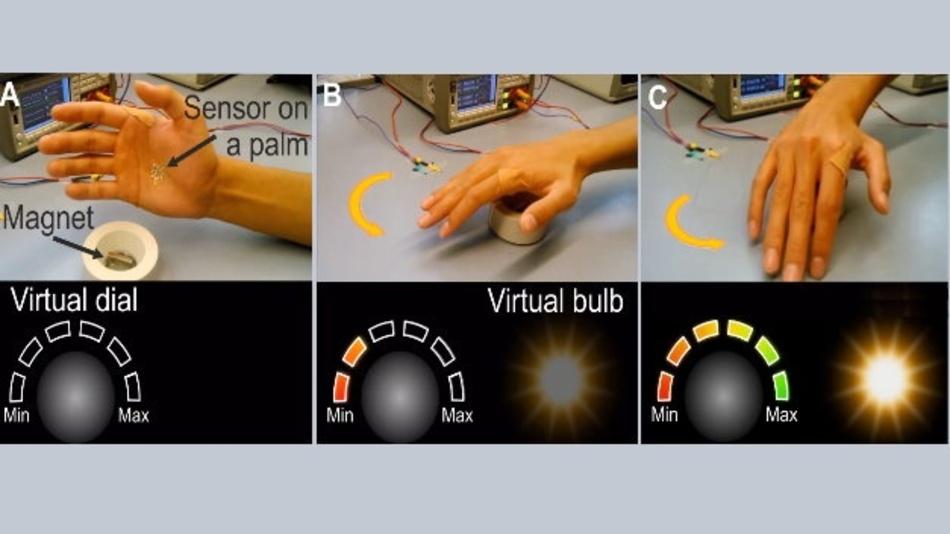 Abhängig von den Feldern eines Permanentmagneten werden die Bewegungen der Hand, auf der der Sensor aufgebracht ist, auf eine virtuelle Skala übertragen, was die Lichtintensität kontrolliert.