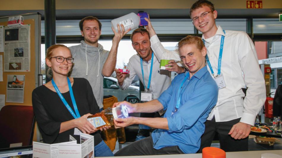 Die Studenten Ida Blum, Hendrik Kaiser, Yannick Bendel, Patrick Weifenbach, Nils Demuth und Tobias Niewalda der TU Darmstadt haben die EMKindersicherung entwickelt.