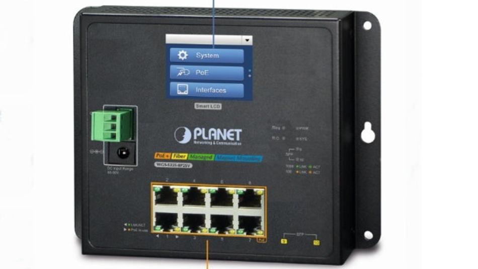 Der PoE+-Switch WGS-5225-8P2SV von Spectra hat ein eigenes Touch-Display.