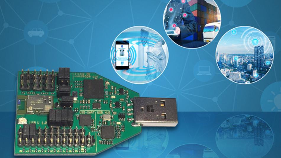 Das Bluetooth-LE-Entwicklungsmodul mit USB-Schnittstelle ist für den Einsatz als Entwicklungsplattform gedacht und lässt sich auch nutzen, um Prototypen schnell zu konfigurieren.