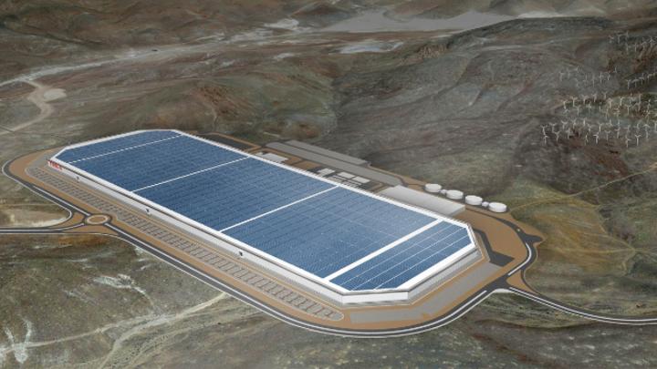 Die Gigafactory von Tesla in Nevada, an der Panasonic beteiligt und für die Produktion der Li-Ionen-Zellen zuständig ist, die in etwa die Hälfte der Fläche einnimmt. 2020 sollen Zellen mit einer Kapazität von 35 GWh und Packs mit 50 GWh gefertigt wer