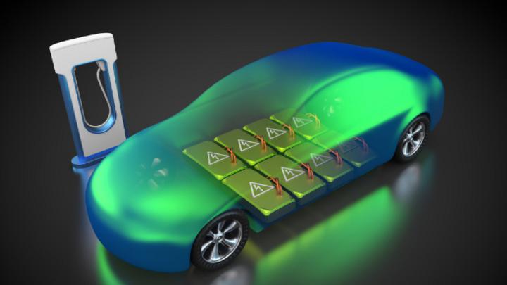 Visualisierung eines Elektrofahrzeugs vor einer Ladesäule