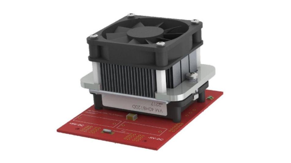 Unter dem Lüfter versteckt sich das erste GaN-Powermodul für 1200 V/80 A, vorgestellt von VisIC.