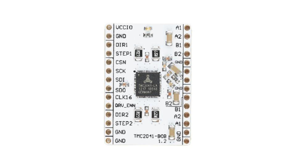 Das TMC2041-BOB eignet sich für die Prototypenentwicklung von Motorsteuerungsanwendungen für 3D-Drucker, Kameras und Scanner.