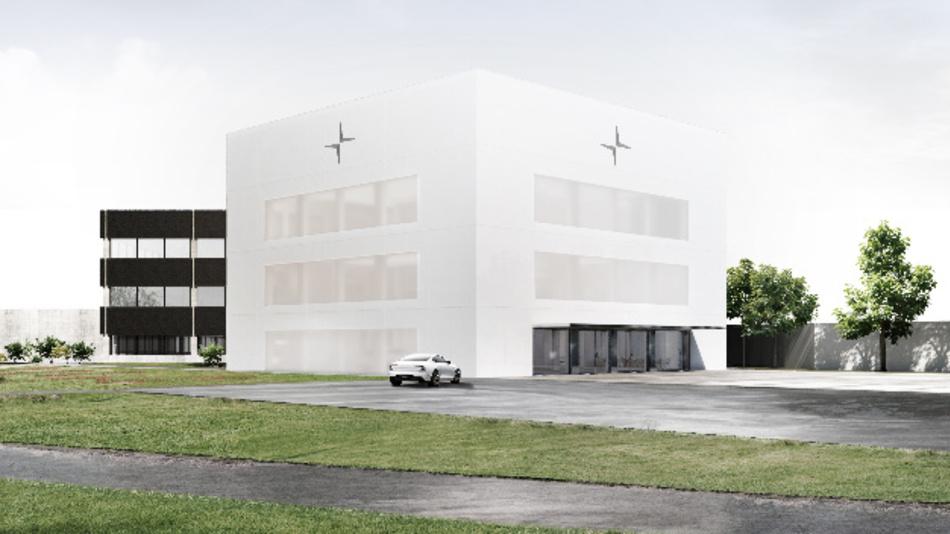 Außenansicht des neuen Firmensitzes von Polestar in Schweden.
