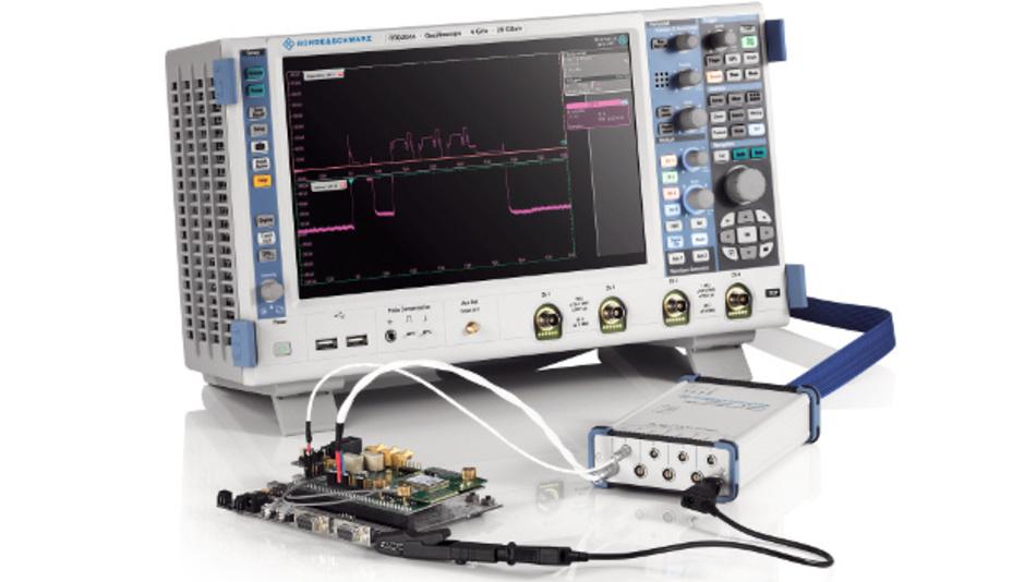 Zwei Tastköpfe RT-ZVC können an ein Oszilloskop RTE oder RTO angeschlossen werden und stellen bis zu 16 hochauflösende Messkanäle bereit.