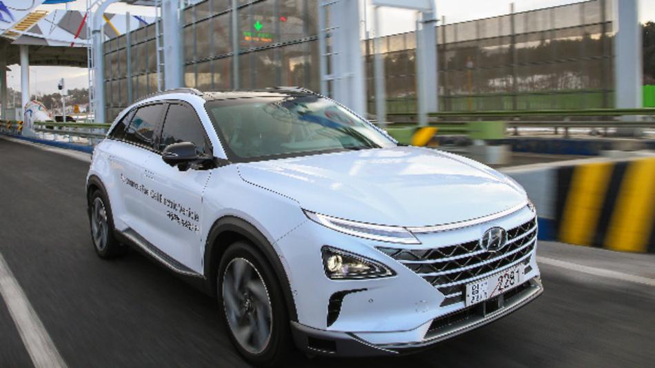 Autonomes Testfahrzeug mit Brennstoffzelle von Hyundai – NEXO.