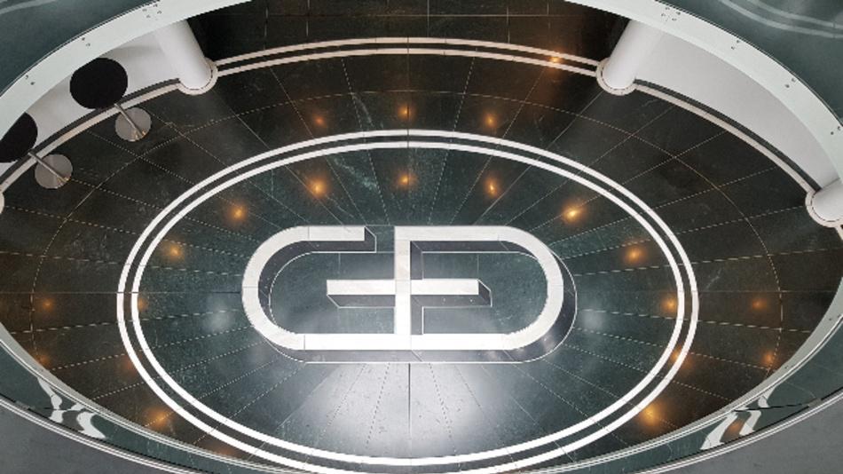 Die Eingangshalle der G+D-Zentrale in München.